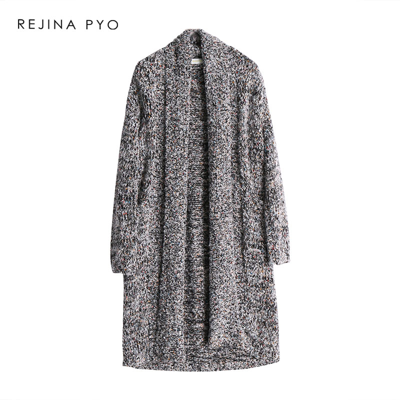 REJINAPYO Women Colorful Lines Knitted Long Cardigans Sequined Decoration Patchwork High Street Loose Open Stitch Sweater