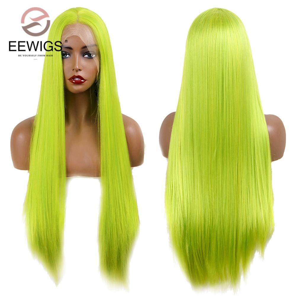 EEWIGS, peluca de encaje largo sin pegamento, peluca de estilo kylie Jenner de alta temperatura, pelucas frontales de encaje sintético verde neón para mujeres