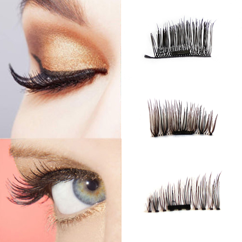4pcs/pair 3D Magnetic Thin False Eyelashes Handmade Natural Fiber Long Magnet Reusable Fake Eye Lashes Extension Makeup Tool