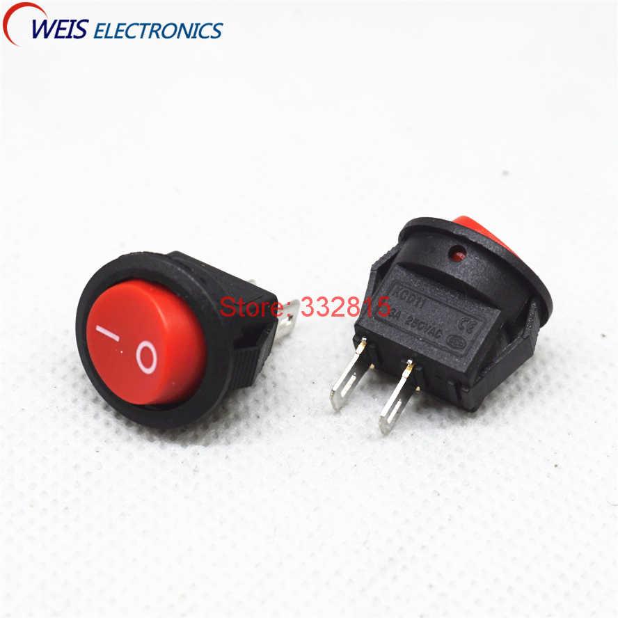 10 pièces 15mm petit rond rouge 2 broches 2 fichiers 3A/250 V 2P2T MINI interrupteur à bascule balançoire interrupteur d'alimentation livraison gratuite D.
