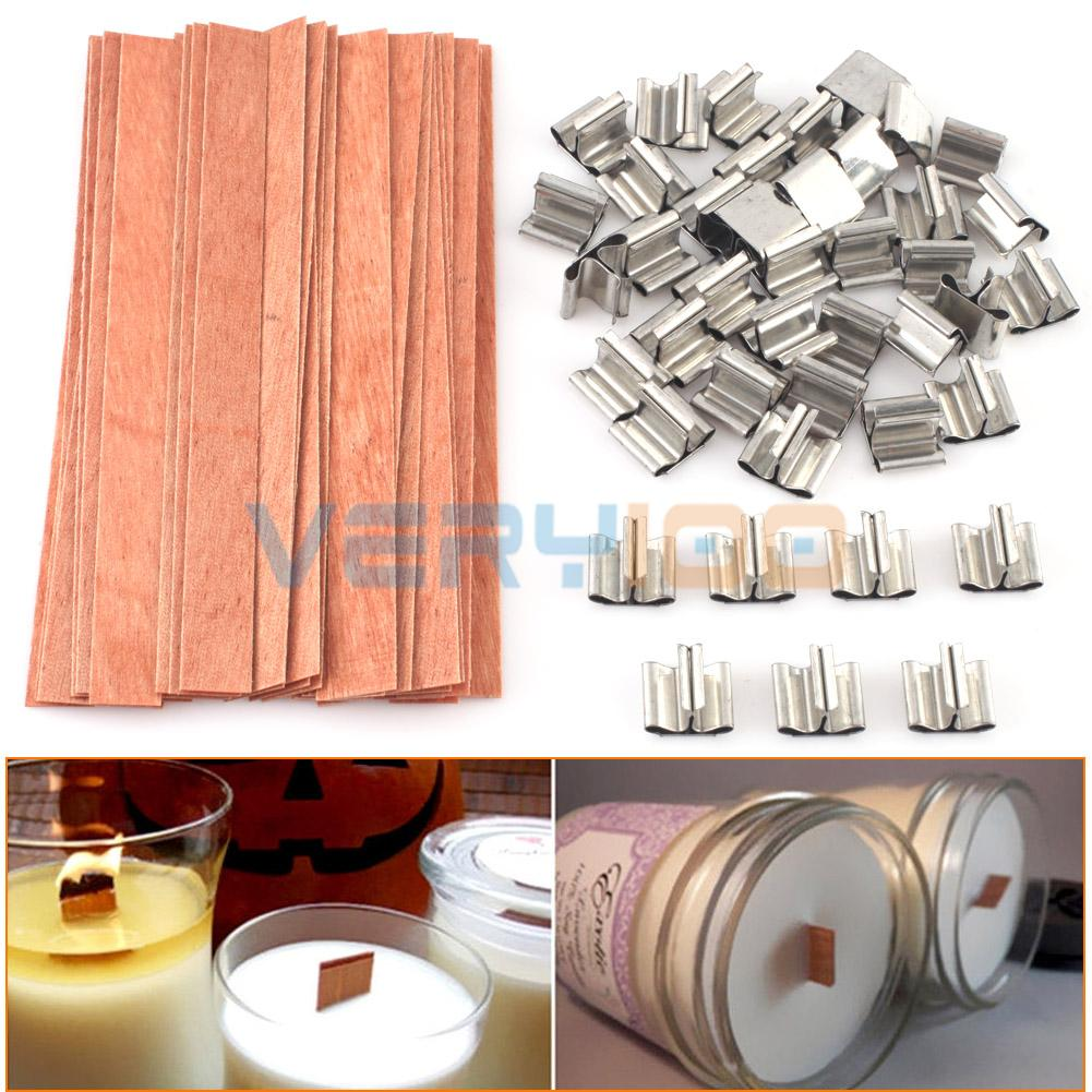 Wooden Candle Wicks Diy: NEW 40 Pcs Wooden Wick Candle Core Sustainers Tab DIY