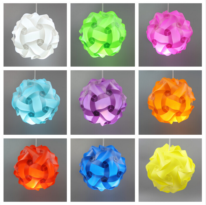 30CM Colorful 30pcs Elements Modern Design DIY IQ Puzzle Bar Decor Jigsaw ChandelierLight Lamp Shade Ceiling