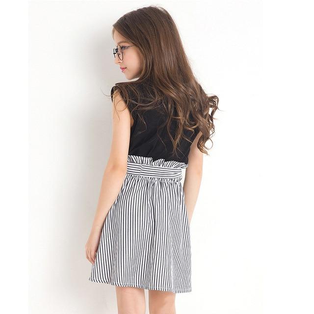 Black White Stripe Girls Summer Clothes Letter Print Tops+Skirt Two-piece Girl Set Fashion Children Clothing Vetement Fille 6-14