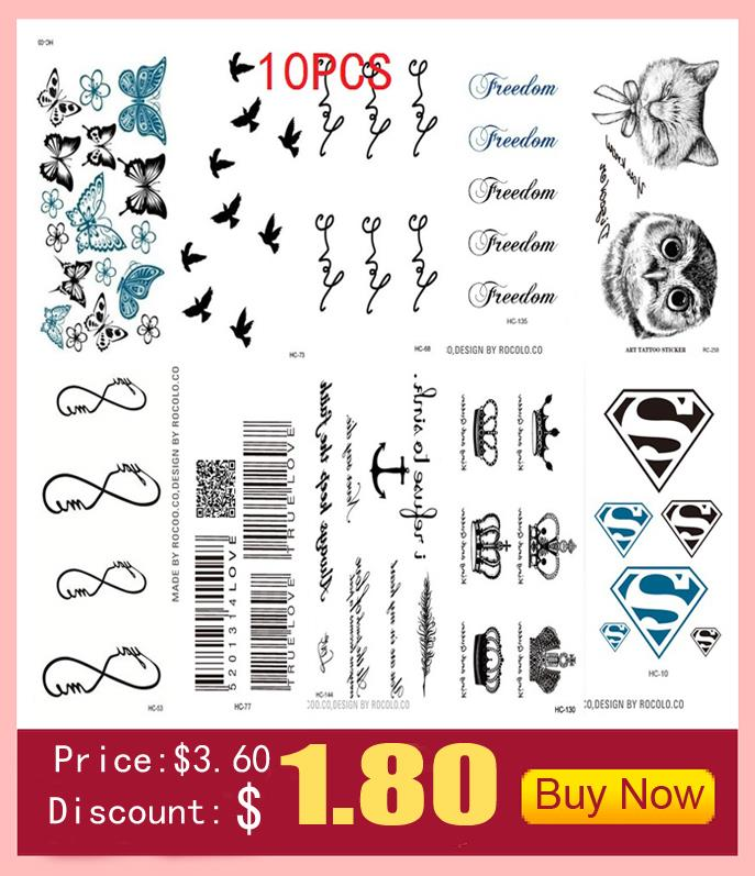 10 PCS 1 Lot Fashion Men And Women Tattoo Lovely butterfly diamond Bird Owl Body Art Flash Waterproof Temporary Tattoos Stickers 6