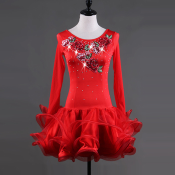 red Latin dance costume spandex tassel stones latin dance dress for women latin dance competition dresses S-XXXL lq034