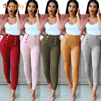2018 autumn and winter retro sexy fashion pencil pants metal piece decorative trousers gray pink wine red khaki army green