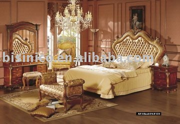 Classical king size bedroom furniture set bed night stand - King size bedroom set with mirror headboard ...