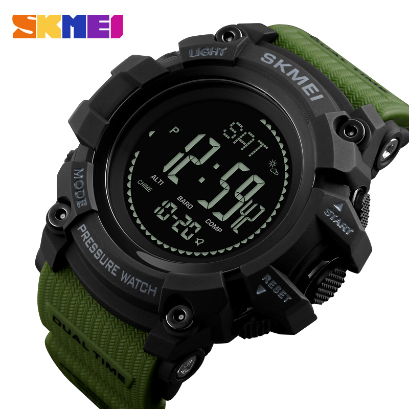 SKMEI New Mens Sports Watches Pedometer Calories Digital Wristwatches Thermometer Compass Altimeter Men Watch Relogio Masculino skmei men sports health watches 3d pedometer heart rate monitor calories counter 50m waterproof digital led mens wristwatches