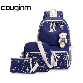 Fashion Women Canvas Backpack School Bags Set For Girl Teenagers Casual Student Travel Rucksack Cute Stars Printing Bag