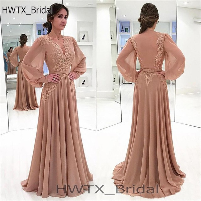 8cf55bb5285 Elegant Brown Long Sleeve Mother Of The Bride Dresses For Weddings V Neck  Vintage Lace Chiffon A Line Arabic Prom Evening Dress