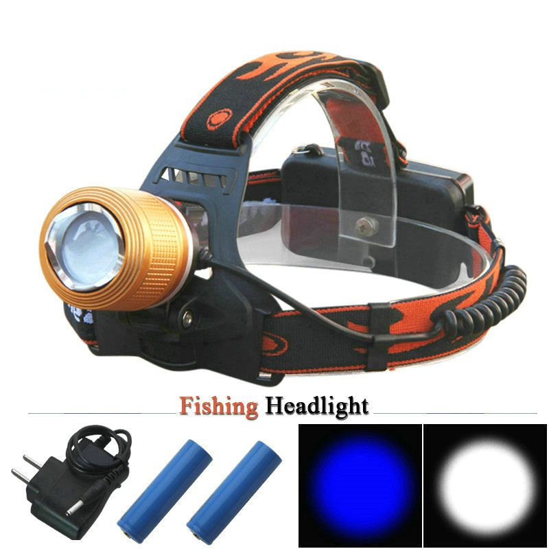 <font><b>Blu-ray</b></font> White light fishing <font><b>hunting</b></font> camping led headlamp Zoomable Rechargeable headlight head flashlight cree q5 18650 Battery