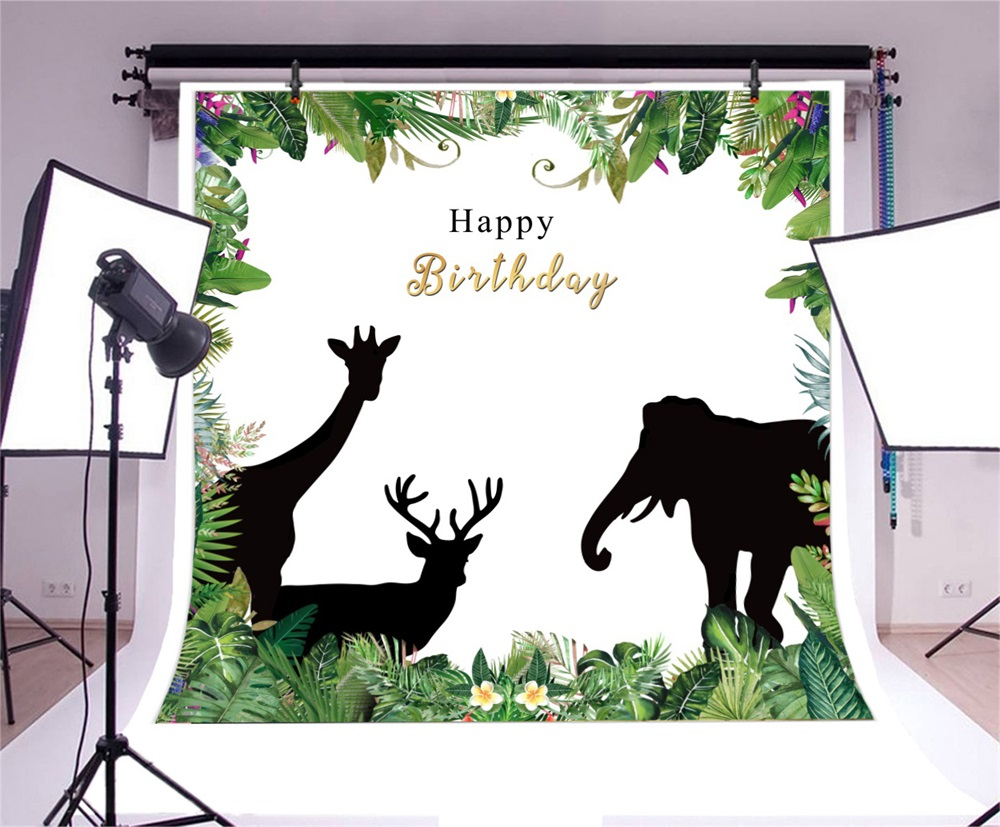 Laeacco Cartoon Jungle Animals Flowers Frame Baby Birthday Party Scene Photography Background Photographic Photo Backdrop Studio in Background from Consumer Electronics