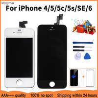 Pantalla LCD de promoción para iPhone 5 5c 5S SE reemplazo de pantalla táctil para iPhone 4 6 + vidrio templado + herramientas + funda TPU 100% AAA + + +