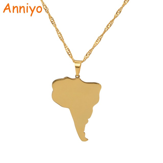Anniyo South America Continent Map Pendant Necklaces Gold Color