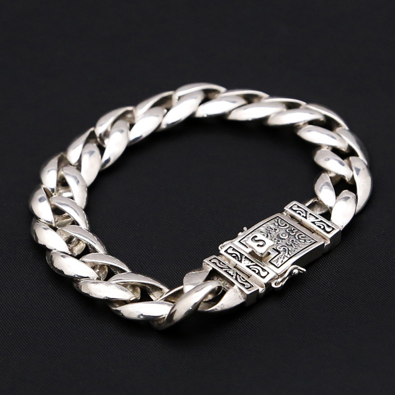13mm Wide Pure 100% 925 Sterling Silver Men's Bracelet Smooth Flower Safe Lock High Polish Link Chain Male Biker Silver Bracelet-in Chain & Link Bracelets from Jewelry & Accessories    1