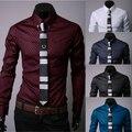 Caliente venta nuevo 2015 de la alta calidad para hombre del diseñador Stripes Dress Shirts Tops Casual camisas largas delgadas 5 Color tamaño M-5XL envío gratis