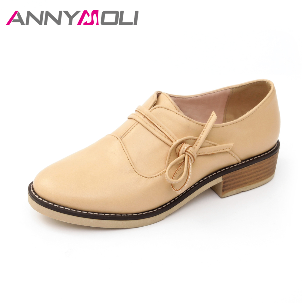 ANNYMOLI Shoes Women Flats Bow Oxfords Shoe Sewing Slip On Flat Shoes Spring Female Casual Shoes 2018 Beige Pink Large Size 9 10 ladies beautiful flats shoes black female large size casual fur glitter women slip on comfy 10 winter bling drop shipping latest
