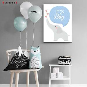 Image 5 - Cartoon Animals Elephant Prints Posters Baby Funny Quotes Canvas Painting On The Wall Kids Nursery Bedroom Art Picture Home Deco