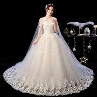 2019 New Off White O Neck Long Train Wedding Dress Beautiful Lace Applique Illusion Lace Up Wedding Gown Vestido De Noiva L