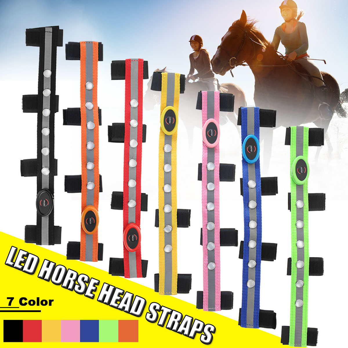 LED Horse Head Straps Night Visible Paardensport Equitation Multi-Color Optional Horse Breastplate Decoration Riding Strip