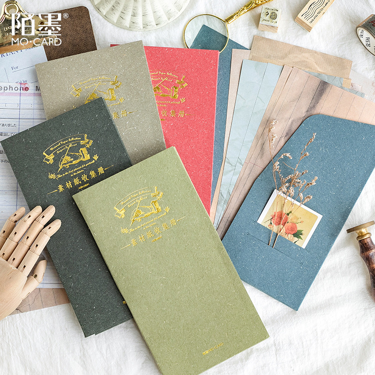 Vintage Japanese Retro Color Paper Traveler's Notebook Planner Decorative Accessories Backround Paper Memo Pad Stationery Store