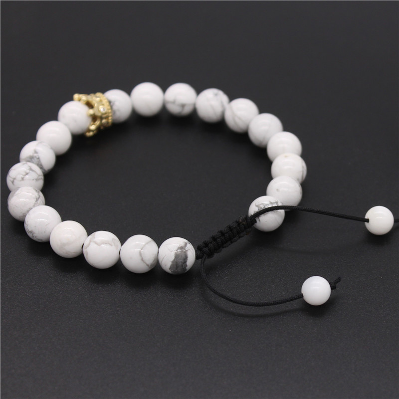 af6b928402 Poahfeel His And Hers Bracelets 8Mm Black Matte & White Beads Cz Crown King  Couple Bracelet Lovers Jewelry Pulsera Mbr170420-in Chain & Link Bracelets  from ...