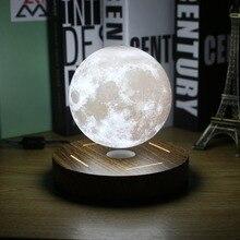 Магнитная левитации 3D Луна лампы 360 поворачивается деревянное основание 10 см ночника плавающий Романтический свет украшение дома для Спальня