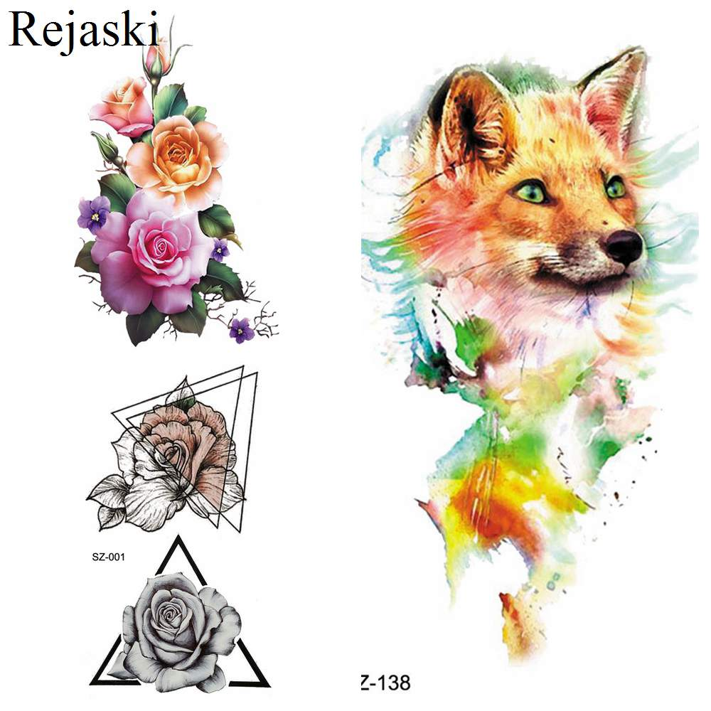 New Flash Fox Temporary Tattoo Women Stickers Body Art Arm Drawing Fake Tatoos Triangle Flora Water Transfer Tattoo Girls 3D Dog