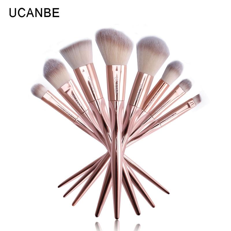 UCANBE 8/7/6pcs Rose Golden Metallic Makeup Brushes Set Cosmetic Grasp Brush Fiber Hair  ...