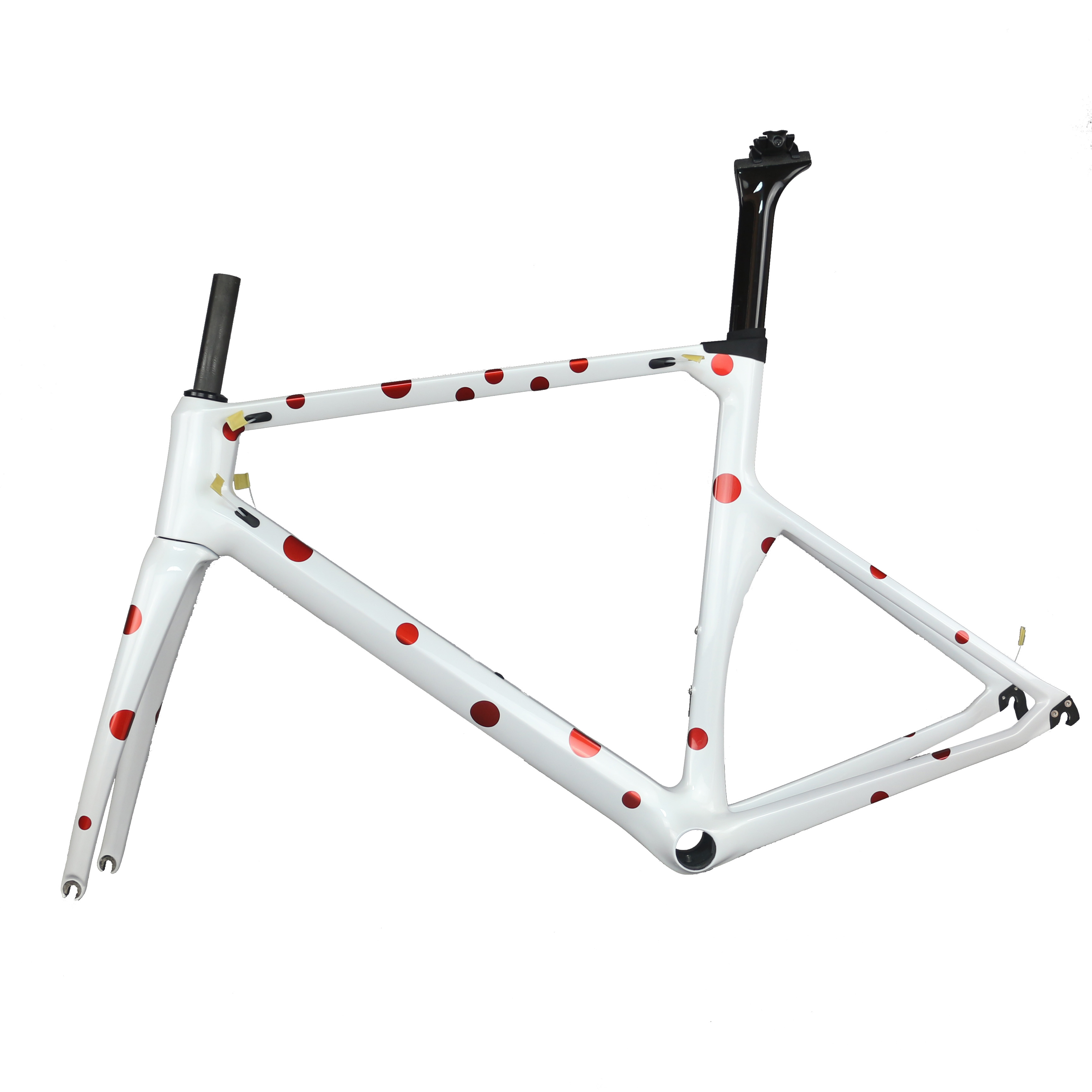 2019 New China Oem Design White Dot Carbon Road Bike Frame Tt-x1