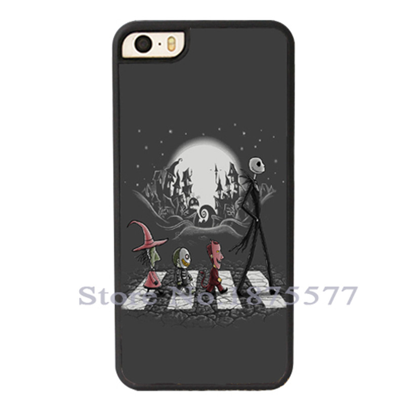 Halloween The Nightmare Before Christmas Jack Skellington Beatles Road Case Cover for iPhone 4 4S 5 5S 5C 6 6S Plus iPod Touch 5