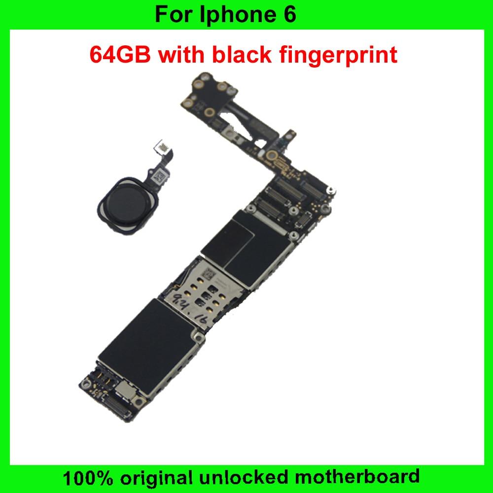 imágenes para 64 gb 100% original placa madre para iphone 6 4.7 inch desbloqueado placa lógica mainboard con función de huellas dactilares ios instalado