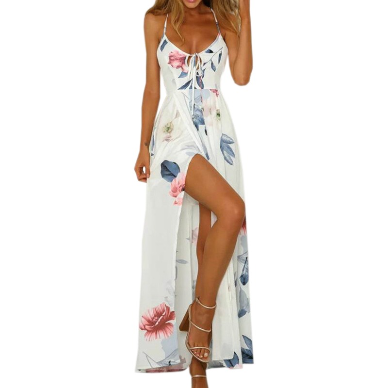 2018 Summer Beach Maxi Dress Female Floral Printed Backless Sundress Lace Up V Neck Women Sexy Split Cross Long Plus Size GV465