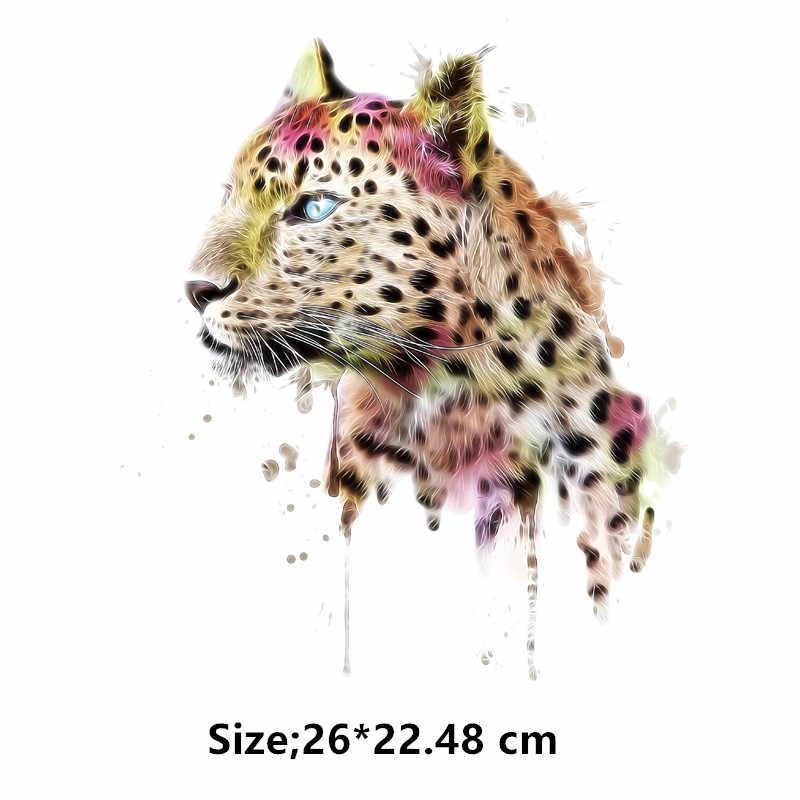 새로운 예쁜 핑크 레오파드 패치 26*22.48 cm 티셔츠 드레스 가정용 다리미로 의류에 대한 스웨터 열전달 패치