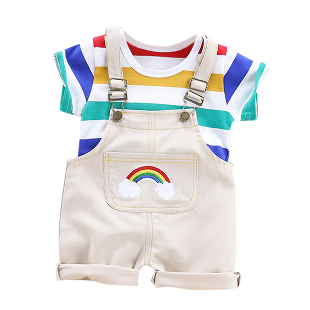 Summer New Fashion Toddler Baby Boy Kids Rainbow Stripe Tops T-shirt Straps Short Outfits Set Wholesale Free Ship Z4