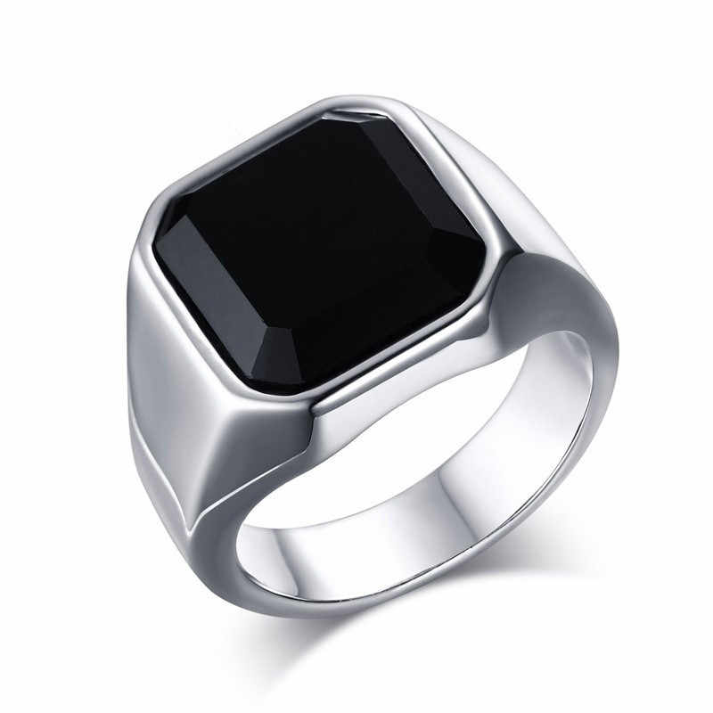 Silver Ring Men Vintage Rings Punk Mens Jewelry Classic Black Stone Male Ring Personalize Wedding Party Jewellery Accessories
