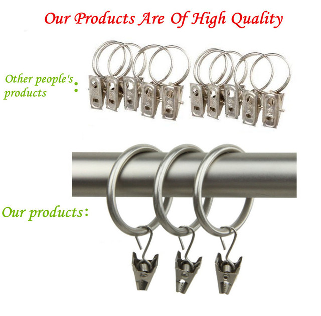 14Pcs/Lot Delicate Curtain Rod Clips Window Shower Curtain Rings ...