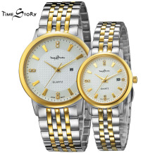 Brand 1 Pair Fashion Lovers Watch Men Women s Ultra Slim Quartz Diamond Wristwatch Stainless Steel