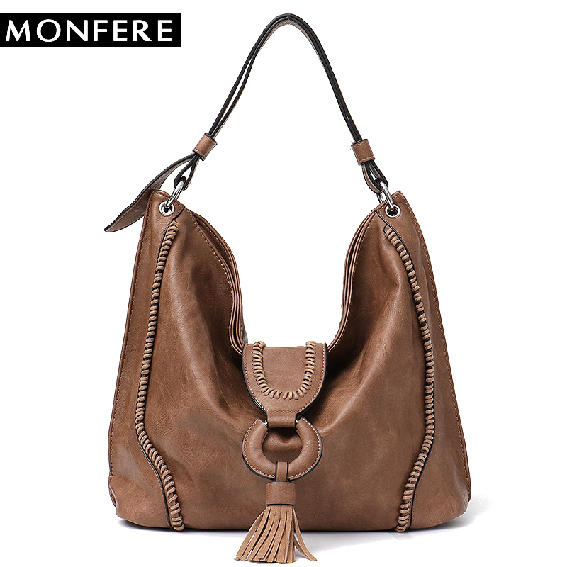 MONFERE Big Vegan Leather Women Shoulder Bag Fashion Large Hobo Tote Bag for Girls Tassel Flap Ladies Handbag& Purse Trend 2018