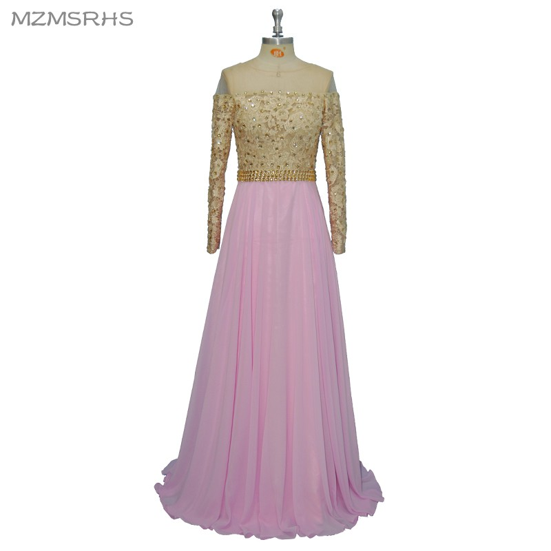 Seksi dari bahu manik kristal lengan panjang garis gaun malam panjang, Pesta elegan Vestido De Festa pengiriman cepat gaun Prom