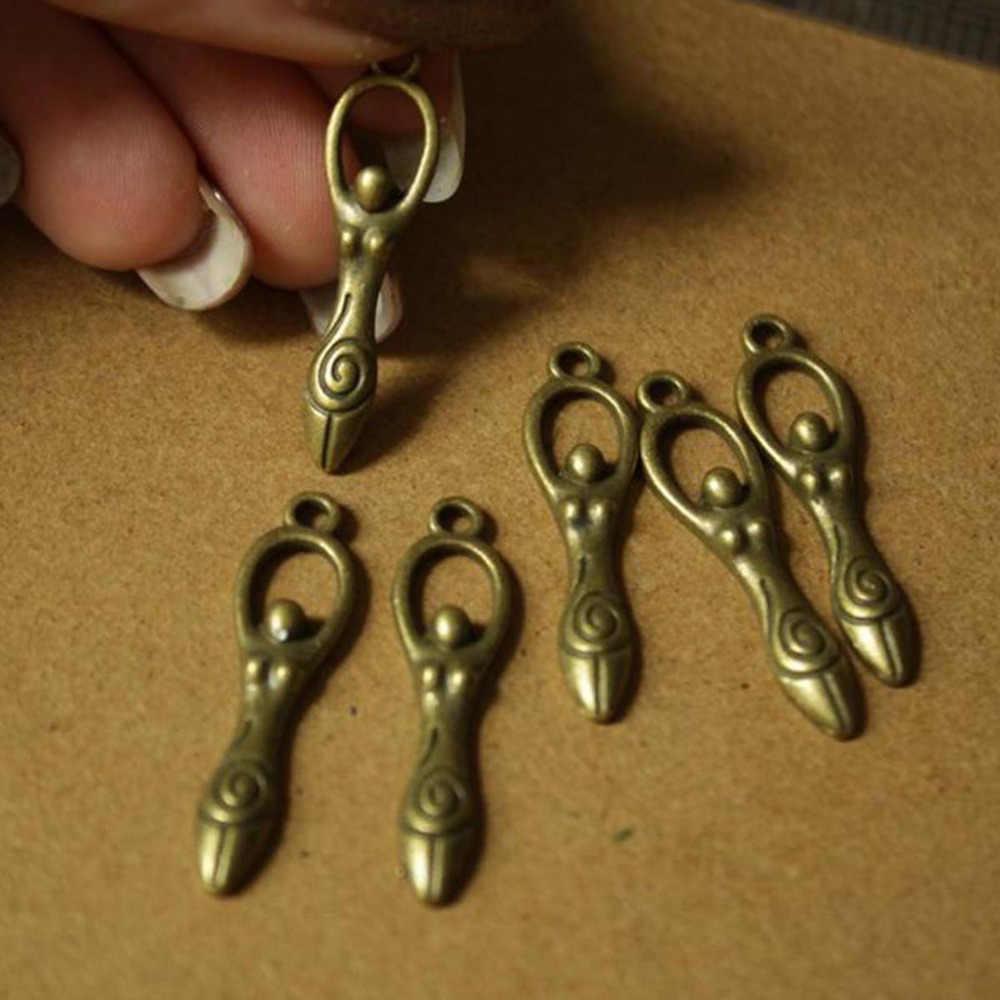 DoreenBeads, colgante de adorno de aleación metálica de Zinc, colgantes, diosa antigua de bronce, diosa elegante tallada a mano, colgantes antiguos, superventas, 6 uds