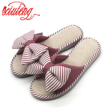 Candy colors Warm Home Slippers Women Bedroom Winter Slippers Women Cartoon Bowtie Indoor Slippers Cotton Floor Home Flax Shoes
