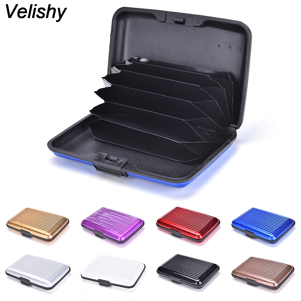 1PCS Metal Wallet Men Business ID Credit Card Holder Mini Suitcase Bank Card Name Card Holder Box Case Organizer For Men xzxbbag metal magic pop up business id credit card holder unisex bank card case men women business name card box with metal clip