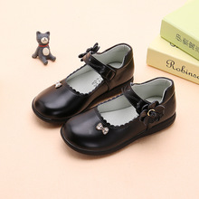 Spring Autumn Girls Shoes Butterfly-knot Rhinestone Princess Shoes Kids School Girls Black Leather Shoes For Student Dress 3-15T new girls shoes high quality japanned leather flats girls butterfly knot crystal decor hasp princess shoes sapato menina d108