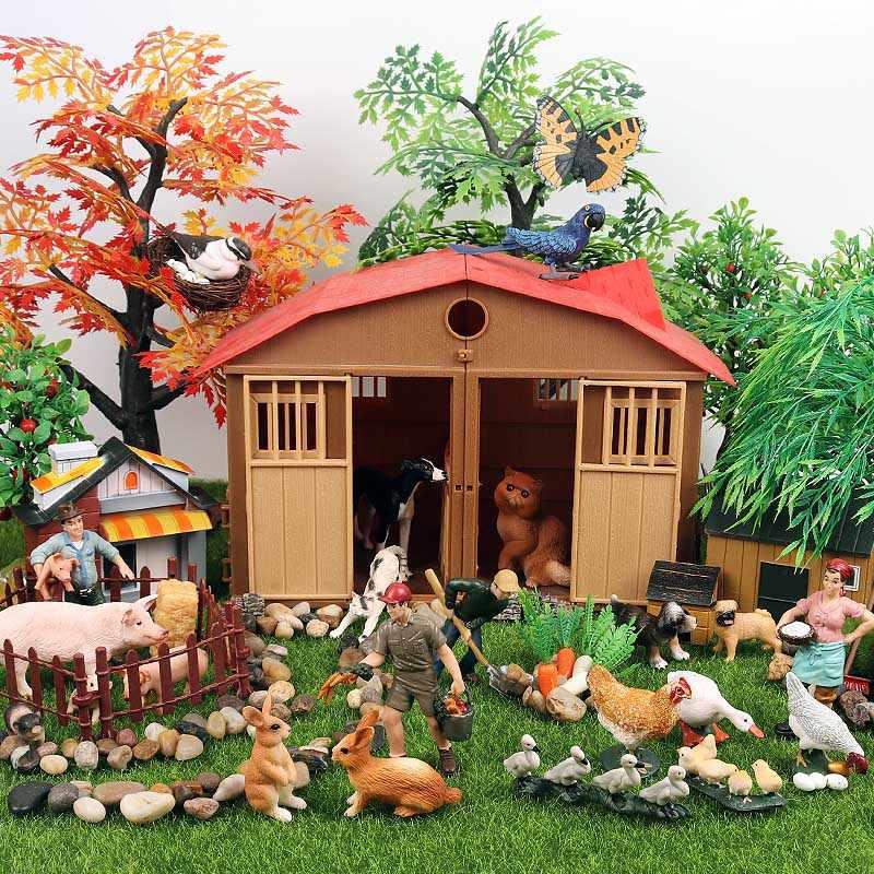 Oenux Linda Fazenda Da Família Modelo Figuras de Ação Agricultor Vaca Cavalo Porco Galinha Aves Animais Estatueta Em Miniatura Educacional Toy Kids