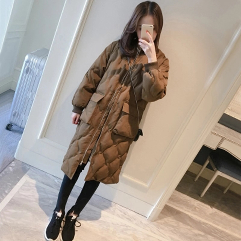 2018 winter new womens cotton dress Korean version of the long section of cotton jacket loose thick jacket ...
