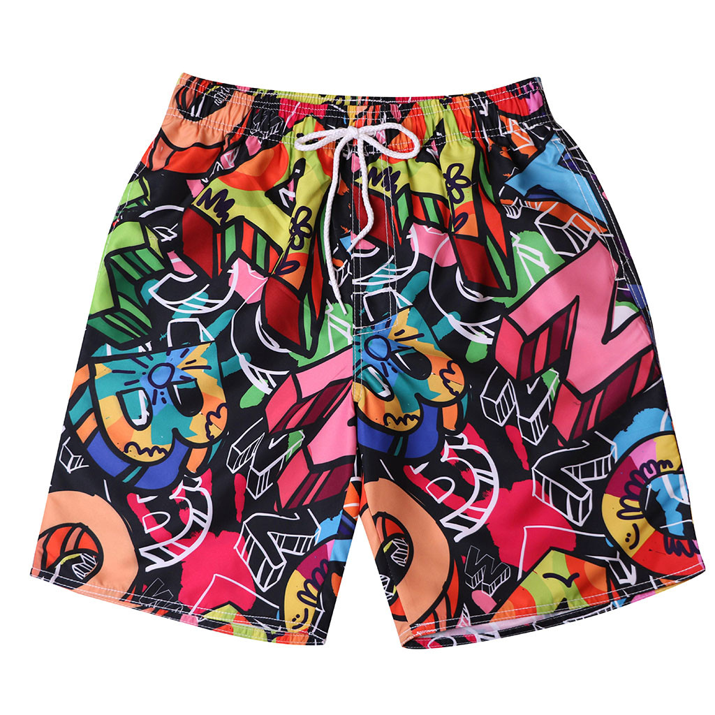 TR2YU7YT Cute Mermaids Seamless Pattern Casual Mens Swim Trunks Quick Dry Printed Beach Shorts Summer Boardshorts Bathing Suits with Drawstring