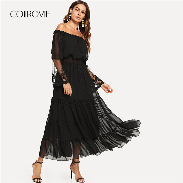 c86b397552e9 COLROVIE Black Sheer Mesh Off The Shoulder Lace Panel Party Dress 2018  Autumn Ruffle Long Sleeve Women Dress Trapeze Maxi Dress