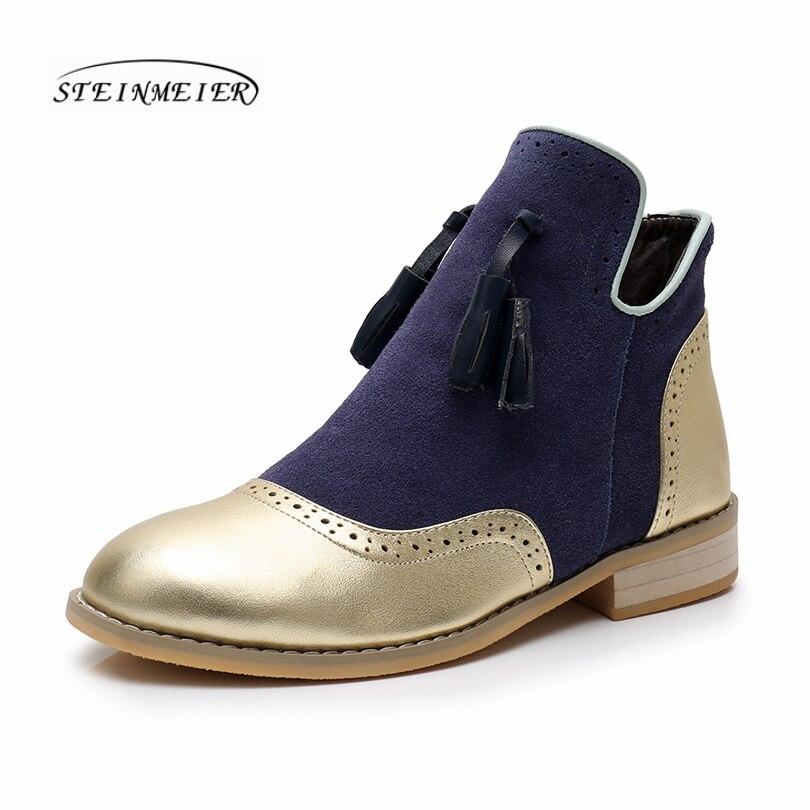 Botas de invierno de cuero genuino de vaca para mujer tobillo chelsea zapatos suaves de calidad cómodos diseñador de marca hecho a mano oro azul con piel-in Botas hasta el tobillo from zapatos    1