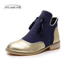Genuine cow Leather women Ankle chelsea winter Boots Comfortable quality soft Shoes Brand Designer Handmade gold blue with fur